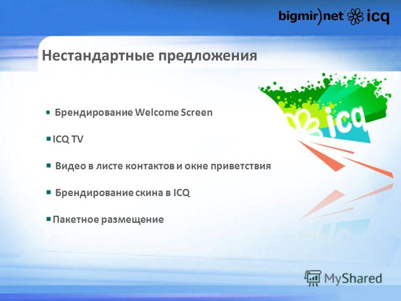 Нестандартные предложения Брендирование Welcome Screen ICQ TV Видео в листе контактов и окне приветствия Брендирование скина в ICQ Пакетное размещение