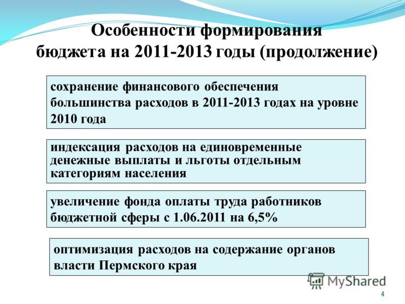 4 4 Особенности формирования бюджета на 2011-2013 годы (продолжение) сохранение финансового обеспечения большинства расходов в 2011-2013 годах на уровне 2010 года индексация расходов на единовременные денежные выплаты и льготы отдельным категориям на