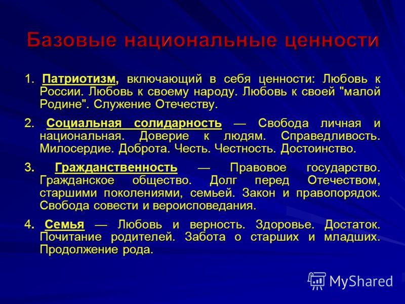 1. Патриотизм, включающий в себя ценности: Любовь к России. Любовь к своему народу. Любовь к своей
