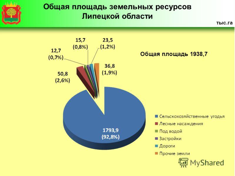 Общая площадь 1938,7 Общая площадь земельных ресурсов Липецкой области тыс.га