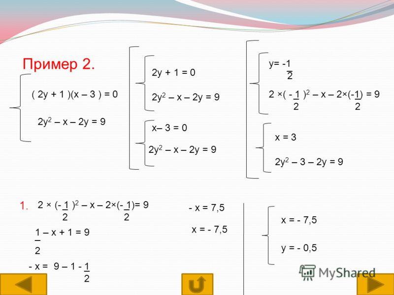 Пример 2. ( 2у + 1 )(х – 3 ) = 0 2у 2 – х – 2у = 9 2у + 1 = 0 2у 2 – х – 2у = 9 х– 3 = 0 2у 2 – х – 2у = 9 у= -1 2 _ 2 ×( - 1 ) 2 – х – 2×(-1) = 9_ 2 _ 2 х = 3 2у 2 – 3 – 2у = 9 1. 2 × (- 1 ) 2 – х – 2×(- 1)= 9__ 22 1 – х + 1 = 9 _ 2 - х = 9 – 1 - 1_