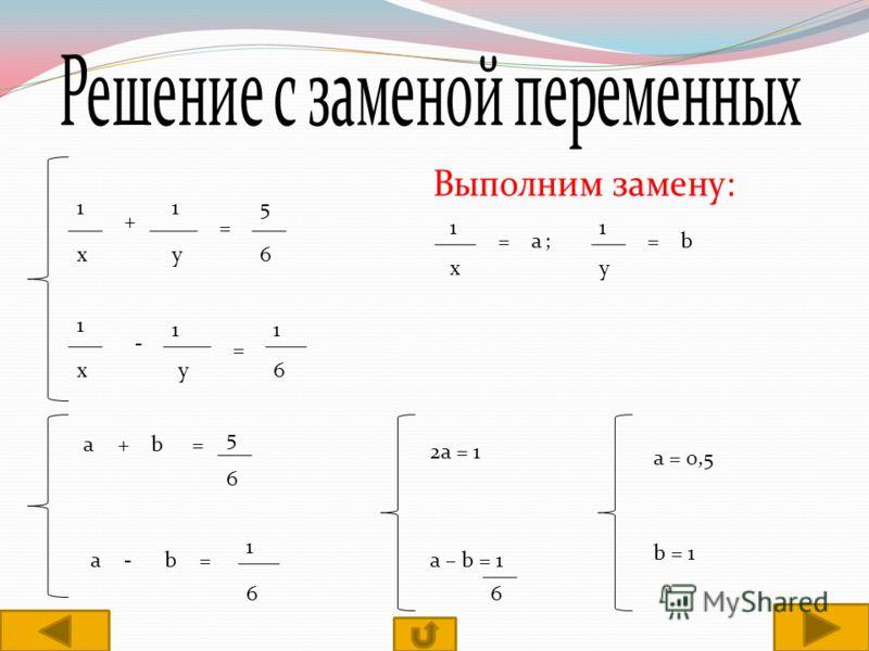 1 х + 1 у = 5 6 1 х - 1 у = 1 6 1 х =а; 1 у =b а+b= 5 6 a-b= 1 6 2a = 1 a – b = 1 6 a = 0,5 b = 1
