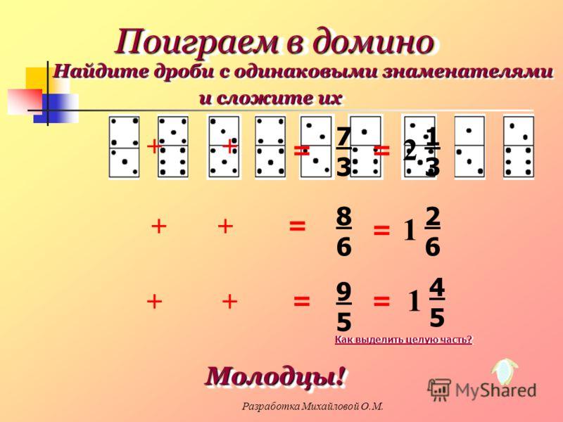 ++ ++ ++ = = = 9595 7373 8686 = = = 2 1313 1 2626 1 4545 Поиграем в домино Найдите дроби с одинаковыми знаменателями и сложите их Молодцы! Молодцы! Как выделить целую часть? Разработка Михайловой О.М.