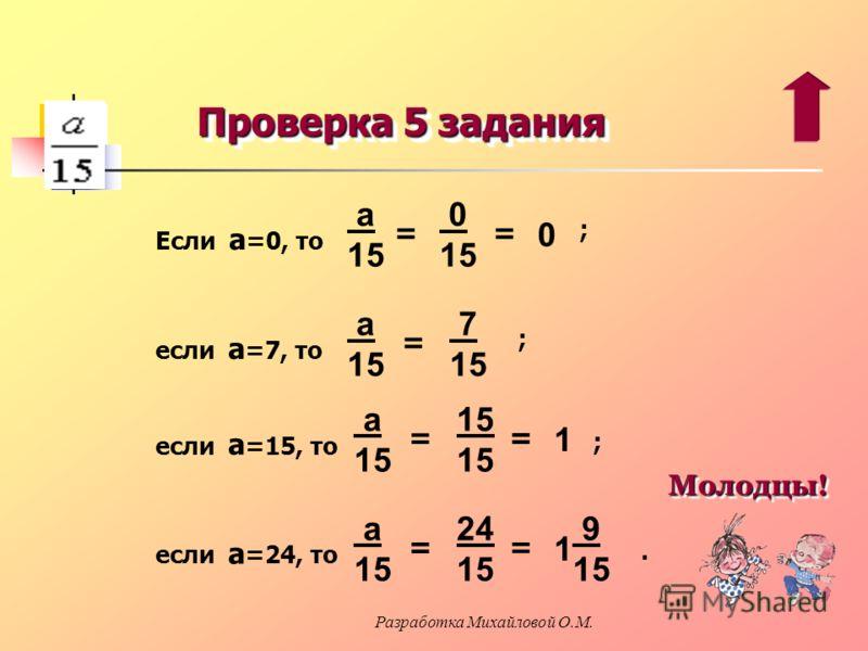 Проверка 5 задания 0 Если а =0, то 0 15 = а 15 = если а =7, то 7 15 а 15 = если а =15, то 15 а 15 = 1 = если а =24, то 24 15 а 15 = 1 = 9 15 ; ; ;. Молодцы! Молодцы! Разработка Михайловой О.М.