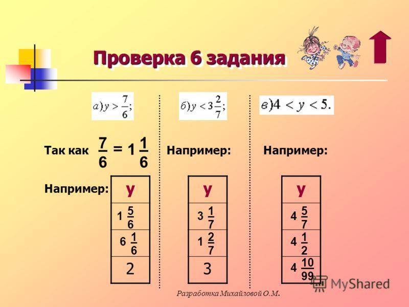 Проверка 6 задания 7676 = 1 1616 Так как у 2 1 5656 6 1616 Например: у 3 3 1717 1 2727 у 4 5757 4 1212 4 10 99 Разработка Михайловой О.М.