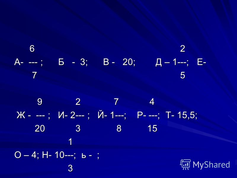 6 2 6 2 А- --- ; Б - 3; В - 20; Д – 1---; Е- 7 5 7 5 9 2 7 4 9 2 7 4 Ж - --- ; И- 2--- ; Й- 1---; Р- ---; Т- 15,5; Ж - --- ; И- 2--- ; Й- 1---; Р- ---; Т- 15,5; 20 3 8 15 20 3 8 15 1 О – 4; Н- 10---; ь - ; 3