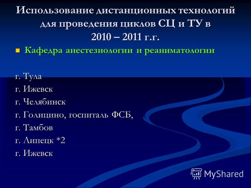 Использование дистанционных технологий для проведения циклов СЦ и ТУ в 2010 – 2011 г.г. Кафедра анестезиологии и реаниматологии Кафедра анестезиологии и реаниматологии г. Тула г. Ижевск г. Челябинск г. Голицино, госпиталь ФСБ, г. Тамбов г. Липецк *2