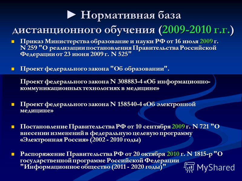 Нормативная база дистанционного обучения (2009-2010 г.г.) Нормативная база дистанционного обучения (2009-2010 г.г.) Приказ Министерства образование и науки РФ от 16 июля 2009 г. N 259