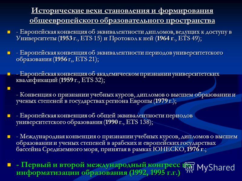 Исторические вехи становления и формирования общеевропейского образовательного пространства - Европейская конвенция об эквивалентности дипломов, ведущих к доступу в Университеты (1953 г., ETS 15) и Протокол к ней (1964 г., ETS 49); - Европейская конв