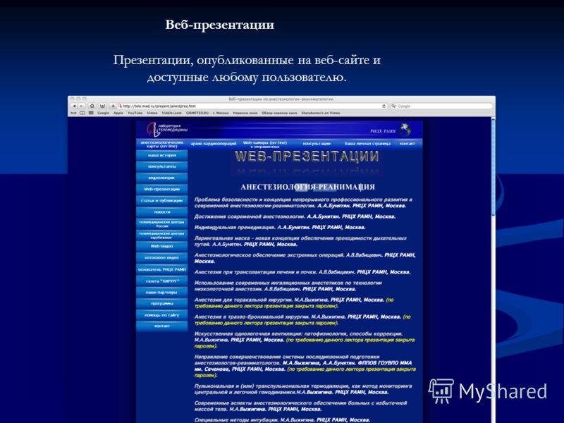 Веб-презентации Презентации, опубликованные на веб-сайте и доступные любому пользователю.