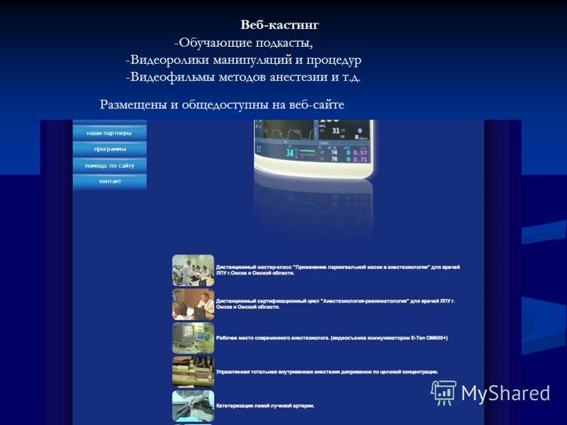 Веб-кастинг -Обучающие подкасты, -Видеоролики манипуляций и процедур -Видеофильмы методов анестезии и т.д. Размещены и общедоступны на веб-сайте