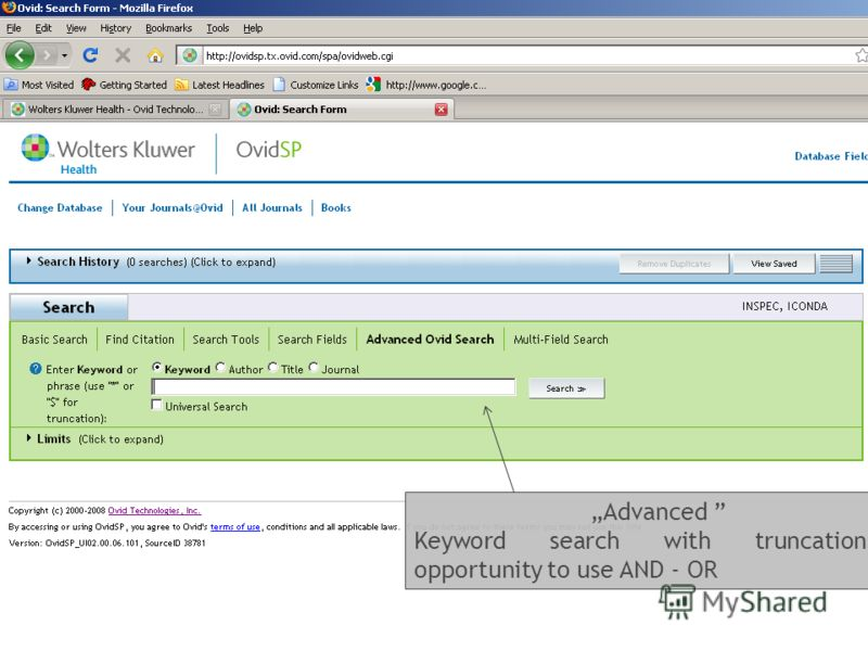 Advanced Keyword search with truncations(*) opportunity to use AND - OR