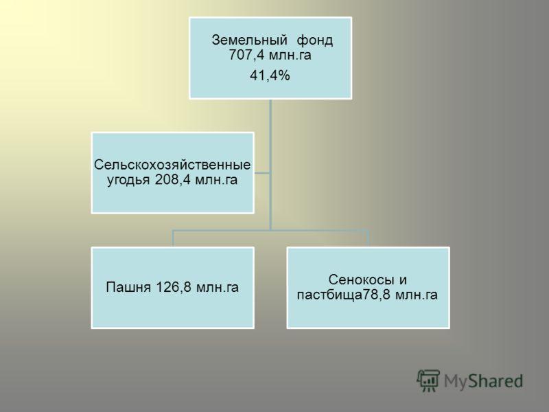 Земельный фонд 707,4 млн.га 41,4% Пашня 126,8 млн.га Сенокосы и пастбища78,8 млн.га Сельскохозяйственные угодья 208,4 млн.га