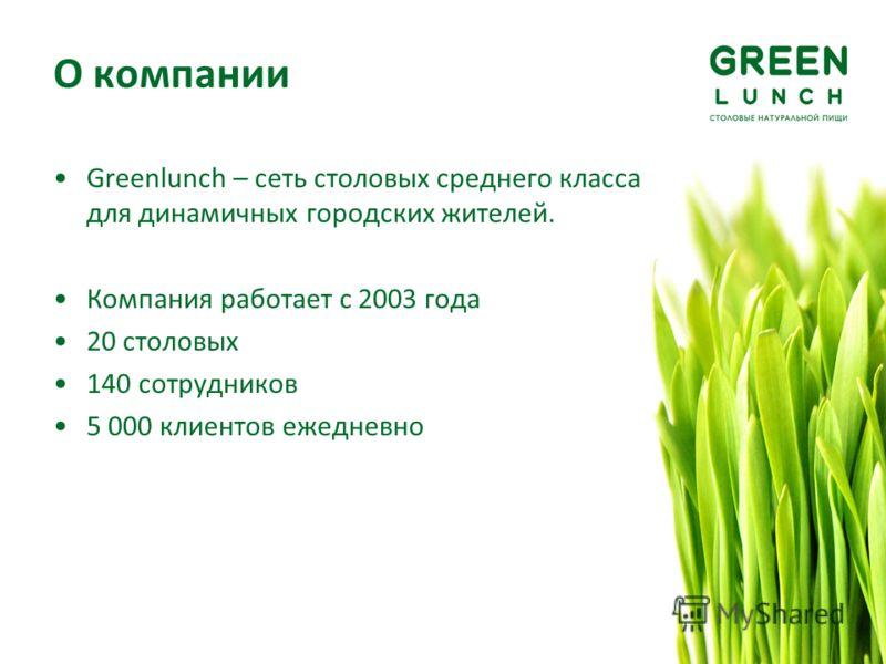 О компании Greenlunch – сеть столовых среднего класса для динамичных городских жителей. Компания работает с 2003 года 20 столовых 140 сотрудников 5 000 клиентов ежедневно