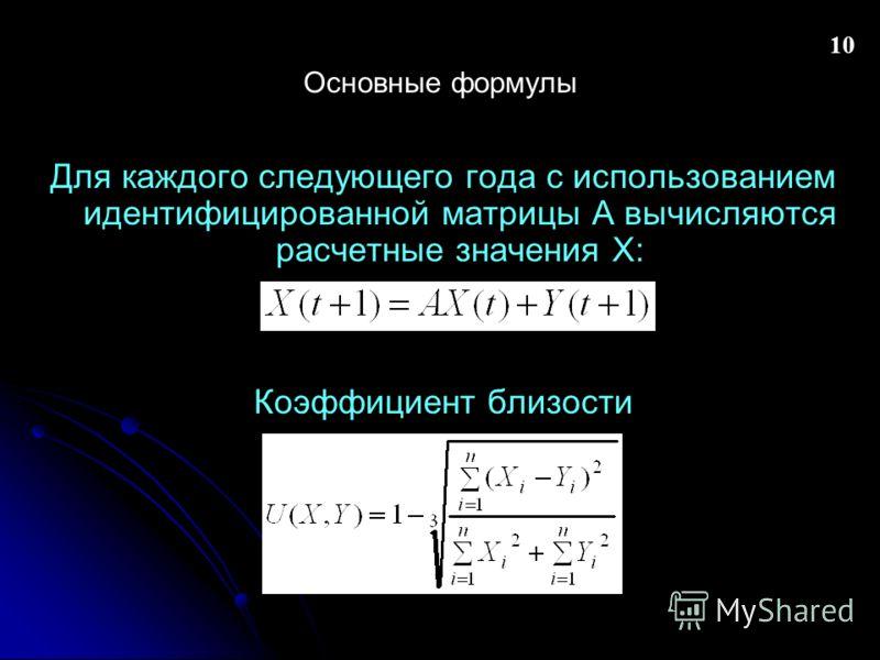 10 Основные формулы Для каждого следующего года с использованием идентифицированной матрицы А вычисляются расчетные значения X: Коэффициент близости