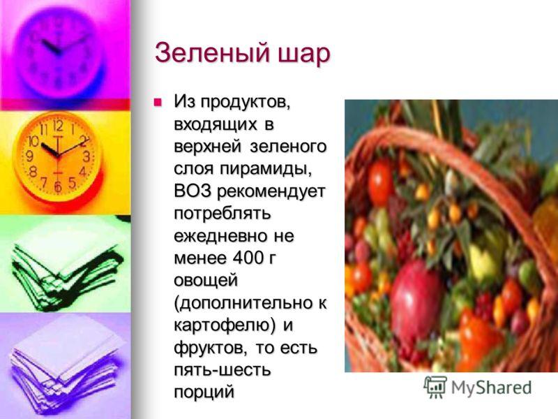 Зеленый шар Из продуктов, входящих в верхней зеленого слоя пирамиды, ВОЗ рекомендует потреблять ежедневно не менее 400 г овощей (дополнительно к картофелю) и фруктов, то есть пять-шесть порций Из продуктов, входящих в верхней зеленого слоя пирамиды,