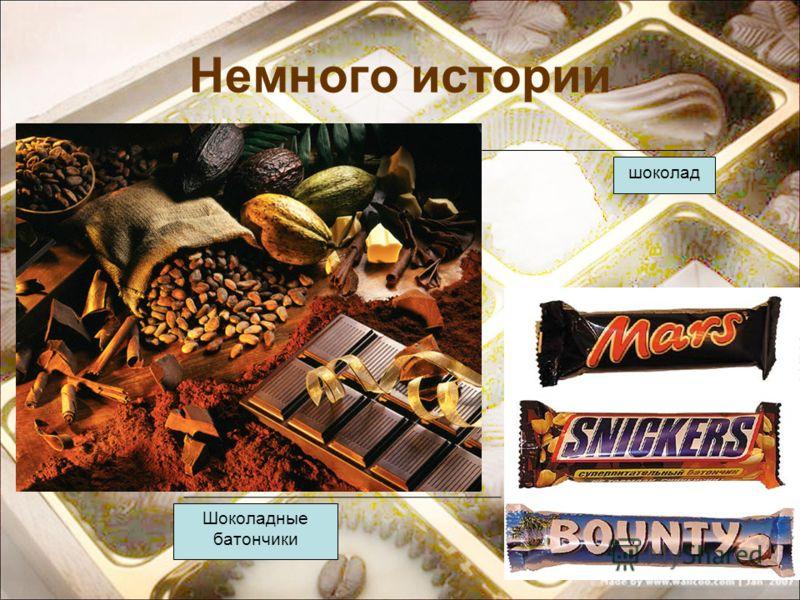 Немного истории шоколад Шоколадные батончики