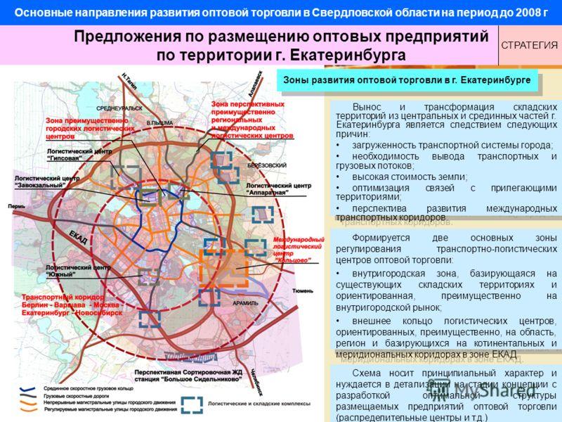 Формируется две основных зоны регулирования транспортно-логистических центров оптовой торговли: внутригородская зона, базирующаяся на существующих складских территориях и ориентированная, преимущественно на внутригородской рынок; внешнее кольцо логис