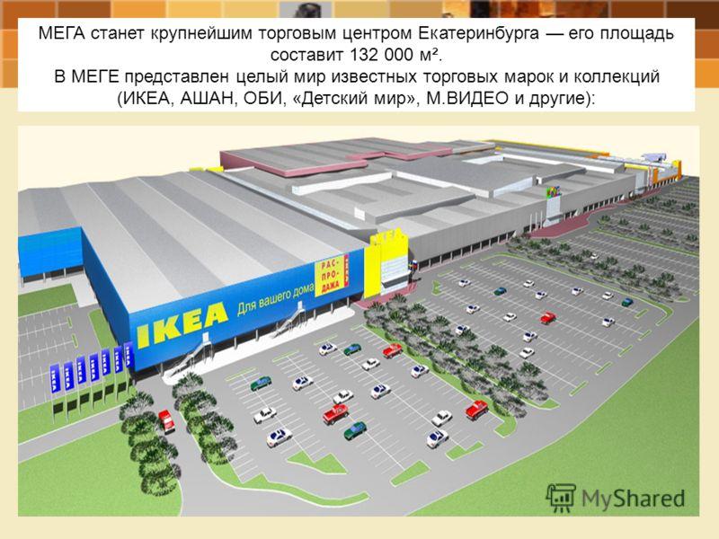 МЕГА станет крупнейшим торговым центром Екатеринбурга его площадь составит 132 000 м². В МЕГЕ представлен целый мир известных торговых марок и коллекций (ИКЕА, АШАН, ОБИ, «Детский мир», М.ВИДЕО и другие):