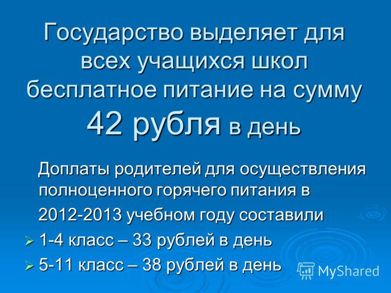 Государство выделяет для всех учащихся школ бесплатное питание на сумму 42 рубля в день Доплаты родителей для осуществления полноценного горячего питания в Доплаты родителей для осуществления полноценного горячего питания в 2012-2013 учебном году сос