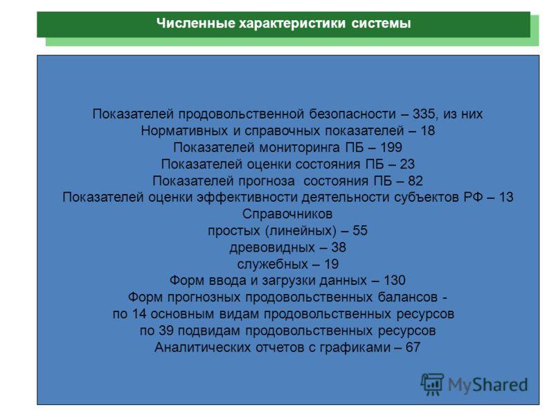 Показателей продовольственной безопасности – 335, из них Нормативных и справочных показателей – 18 Показателей мониторинга ПБ – 199 Показателей оценки состояния ПБ – 23 Показателей прогноза состояния ПБ – 82 Показателей оценки эффективности деятельно