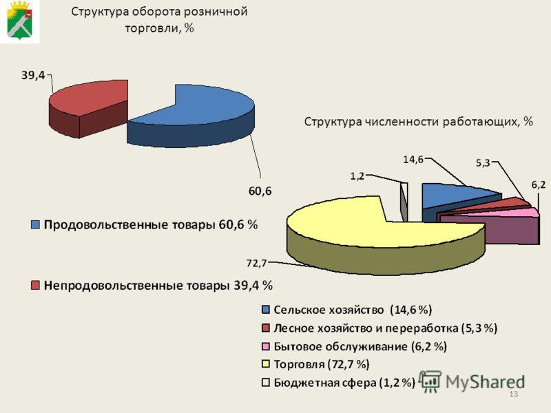 13 Структура оборота розничной торговли, % Структура численности работающих, %