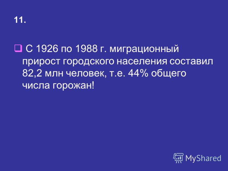 11. С 1926 по 1988 г. миграционный прирост городского населения составил 82,2 млн человек, т.е. 44% общего числа горожан!