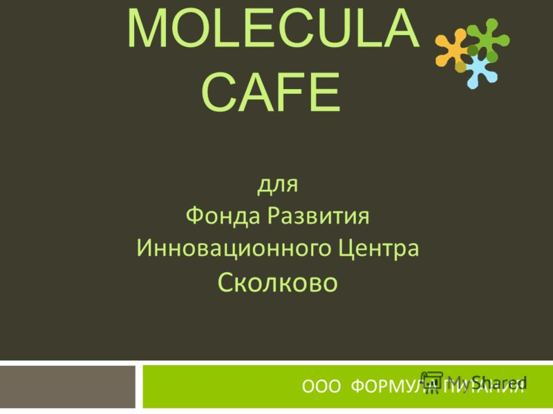 ООО ФОРМУЛА ПИТАНИЯ MOLECULA CAFE для Фонда Развития Инновационного Центра Сколково