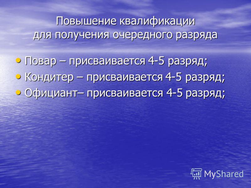 Повышение квалификации для получения очередного разряда Повар – присваивается 4-5 разряд; Повар – присваивается 4-5 разряд; Кондитер – присваивается 4-5 разряд; Кондитер – присваивается 4-5 разряд; Официант– присваивается 4-5 разряд; Официант– присва