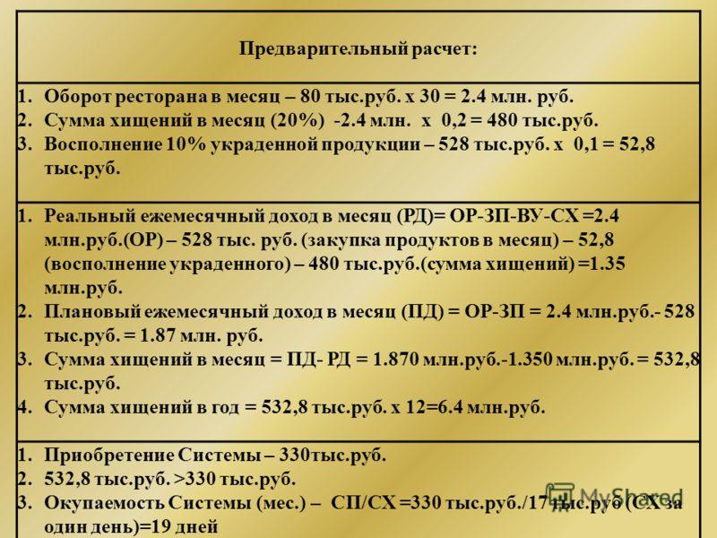 Предварительный расчет: 1.Оборот ресторана в месяц – 80 тыс.руб. х 30 = 2.4 млн. руб. 2.Сумма хищений в месяц (20%) -2.4 млн. х 0,2 = 480 тыс.руб. 3.Восполнение 10% украденной продукции – 528 тыс.руб. х 0,1 = 52,8 тыс.руб. 1.Реальный ежемесячный дохо
