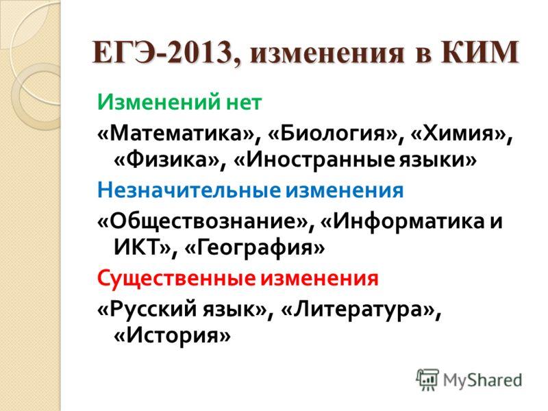 ЕГЭ-2013, изменения в КИМ Изменений нет « Математика », « Биология », « Химия », « Физика », « Иностранные языки » Незначительные изменения « Обществознание », « Информатика и ИКТ », « География » Существенные изменения « Русский язык », « Литература