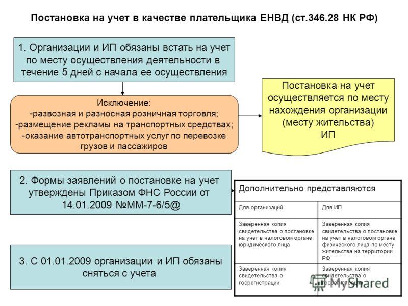 Постановка на учет в качестве плательщика ЕНВД (ст.346.28 НК РФ) 1. Организации и ИП обязаны встать на учет по месту осуществления деятельности в течение 5 дней с начала ее осуществления 2. Формы заявлений о постановке на учет утверждены Приказом ФНС