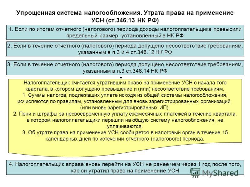 Упрощенная система налогообложения. Утрата права на применение УСН (ст.346.13 НК РФ) 1. Если по итогам отчетного (налогового) периода доходы налогоплательщика превысили предельный размер, установленный в НК РФ 2. Если в течение отчетного (налогового)