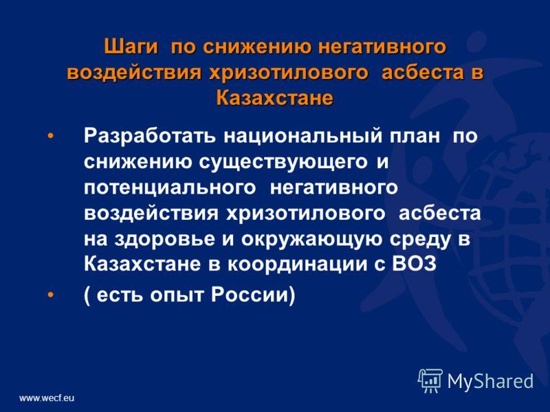 www.wecf.eu Шаги по снижению негативного воздействия хризотилового асбеста в Казахстане Разработать национальный план по снижению существующего и потенциального негативного воздействия хризотилового асбеста на здоровье и окружающую среду в Казахстане