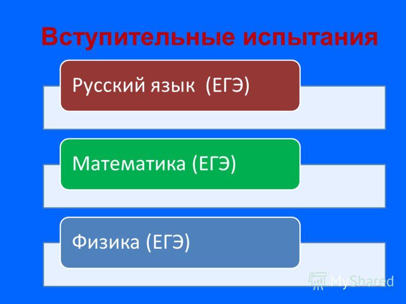 Вступительные испытания Русский язык (ЕГЭ)Математика (ЕГЭ)Физика (ЕГЭ)
