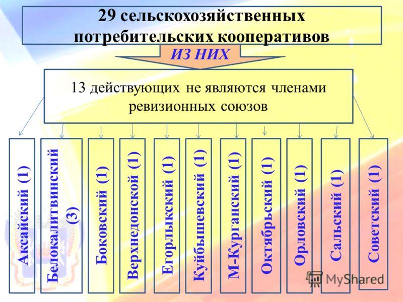 29 сельскохозяйственных потребительских кооперативов 13 действующих не являются членами ревизионных союзов Аксайский (1) Белокалитвинский (3) Боковский (1) Верхнедонской (1) Егорлыкский (1) Куйбышевский (1) М-Курганский (1) Октябрьский (1) Орловский