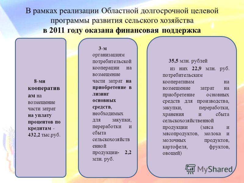 В рамках реализации Областной долгосрочной целевой программы развития сельского хозяйства в 2011 году оказана финансовая поддержка 3-м организациям потребительской кооперации на возмещение части затрат на приобретение в лизинг основных средств, необх
