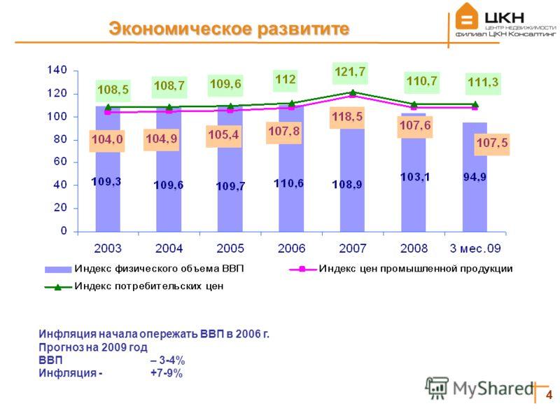 4 Экономическое развитите Инфляция начала опережать ВВП в 2006 г. Прогноз на 2009 год ВВП – 3-4% Инфляция - +7-9%
