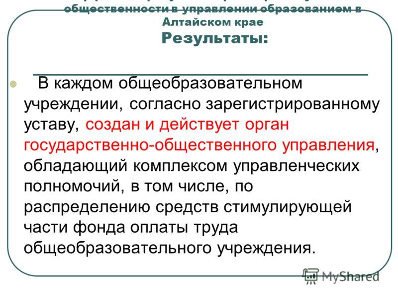 1.Эффекты и результаты расширения участия общественности в управлении образованием в Алтайском крае Результаты: В каждом общеобразовательном учреждении, согласно зарегистрированному уставу, создан и действует орган государственно-общественного управл