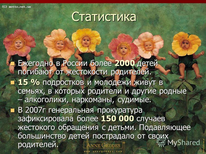 Статистика Ежегодно в России более детей погибают от жестокости родителей. Ежегодно в России более 2000 детей погибают от жестокости родителей. 15 % подростков и молодежи живут в семьях, в которых родители и другие родные – алкоголики, наркоманы, суд