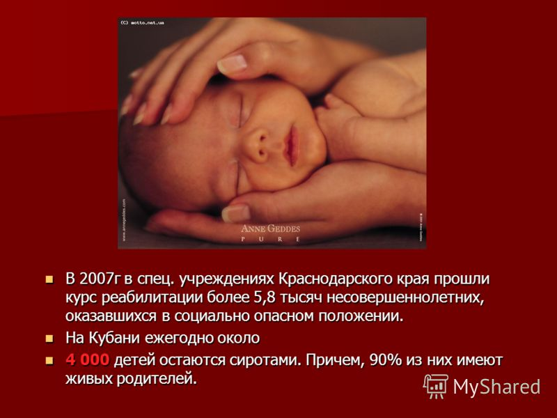 Статистика В 2007г в спец. учреждениях Краснодарского края прошли курс реабилитации более 5,8 тысяч несовершеннолетних, оказавшихся в социально опасном положении. В 2007г в спец. учреждениях Краснодарского края прошли курс реабилитации более 5,8 тыся