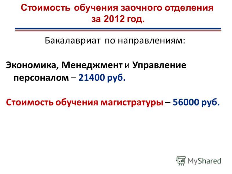 Бакалавриат по направлениям: Экономика, Менеджмент и Управление персоналом – 21400 руб. Стоимость обучения магистратуры – 56000 руб.