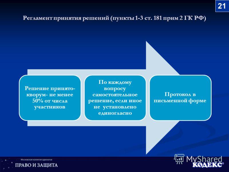 Регламент принятия решений (пункты 1-3 ст. 181 прим 2 ГК РФ) Решение принято- кворум- не менее 50% от числа участников По каждому вопросу самостоятельное решение, если иное не установлено единогласно Протокол в письменной форме 21