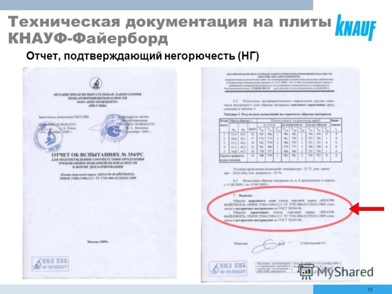 13 Отчет, подтверждающий негорючесть (НГ) Техническая документация на плиты КНАУФ-Файерборд