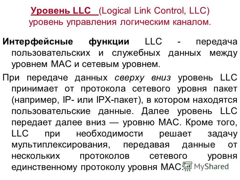 Уровень LLC (Logical Link Control, LLC) уровень управления логическим каналом. Интерфейсные функции LLC - передача пользовательских и служебных данных между уровнем MAC и сетевым уровнем. При передаче данных сверху вниз уровень LLC принимает от прото