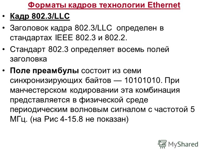 Форматы кадров технологии Ethernet Кадр 802.3/LLC Заголовок кадра 802.3/LLC определен в стандартах IEEE 802.3 и 802.2. Стандарт 802.3 определяет восемь полей заголовка Поле преамбулы состоит из семи синхронизирующих байтов 10101010. При манчестерском