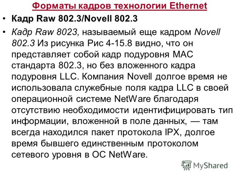 Форматы кадров технологии Ethernet Кадр Raw 802.3/Novell 802.3 Кадр Raw 8023, называемый еще кадром Novell 802.3 Из рисунка Рис 4-15.8 видно, что он представляет собой кадр подуровня MAC стандарта 802.3, но без вложенного кадра подуровня LLC. Компани