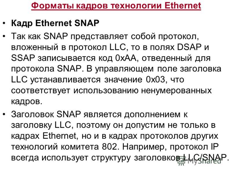 Форматы кадров технологии Ethernet Кадр Ethernet SNAP Так как SNAP представляет собой протокол, вложенный в протокол LLC, то в полях DSAP и SSAP записывается код 0хАА, отведенный для протокола SNAP. В управляющем поле заголовка LLC устанавливается зн