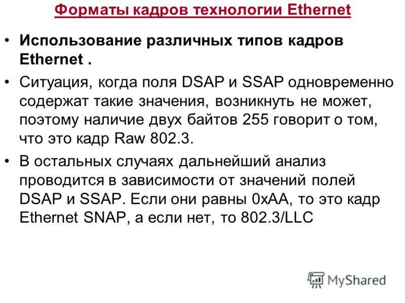 Форматы кадров технологии Ethernet Использование различных типов кадров Ethernet. Ситуация, когда поля DSAP и SSAP одновременно содержат такие значения, возникнуть не может, поэтому наличие двух байтов 255 говорит о том, что это кадр Raw 802.3. В ост