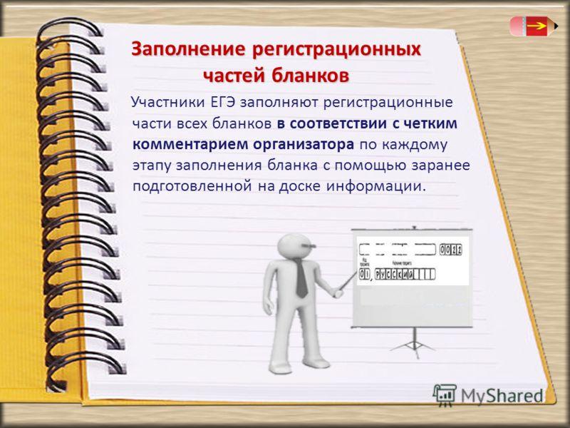 Заполнение регистрационных частей бланков Участники ЕГЭ заполняют регистрационные части всех бланков в соответствии с четким комментарием организатора по каждому этапу заполнения бланка с помощью заранее подготовленной на доске информации.